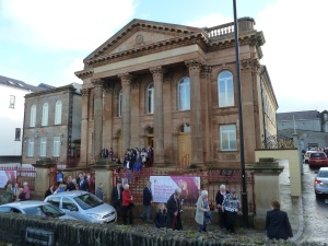 The congregation leaves after the Sunday morning service in First Derry